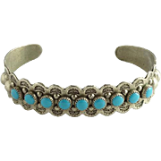 Bell Trading Post Fred Harvey Era Nickel Silver Turquoise Cuff Bracelet Native American Hallmarked