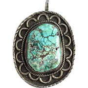 Vintage Navajo Turquoise Necklace Pendant Sterling Silver Large Fabulous Stone