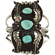 Vintage Navajo J Delgarito Turquoise Sterling Cuff Bracelet 3 Stones Applied Feathers
