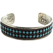 Vintage Native American Zuni Vintage Turquoise Cuff Bracelet Double Corn Row Sterling Silver