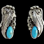 Vintage Native American Navajo Turquoise Pierced Earrings Hallmarked Sterling H