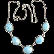 Vintage Blue Larimar Gemstone and Sterling Link Necklace Hallmarked 925