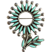 Native American Zuni Vintage Needlepoint Turquoise Brooch Pin Flower and Leaf Sterling Silver