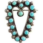 Southwestern Native American Vintage Turquoise Heart Pin Brooch Sterling Silver