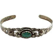 Vintage Native American Maisel's Indian Trading Post CHILD Turquoise Bracelet Sterling Signed
