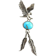 Native American Vintage Turquoise Necklace Pendant Signed RB Eagle Feather Dangles Sterling Silver