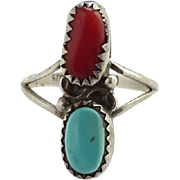 Vintage Native American Navajo Sterling Silver Turquoise Coral Ring Size 6.25 Pretty