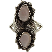 Vintage Native American Pink Mother of Pearl Ring Size 7.5 Signed RB Sterling