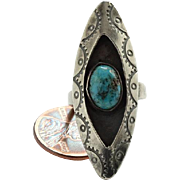 Native American Shadowbox Turquoise Ring Size 6.75 Stamp Decoration Sterling Silver