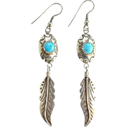 Vintage L. Ramone Native American Turquoise Concho Pierced Earrings Long Feather Dangles Sterling