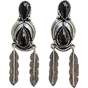 Vintage Native American Navajo Floyd Arviso Black Onyx Pierced Earrings Feather Dangles Sterling Silver