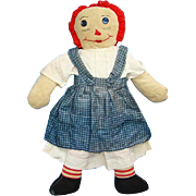 Vintage Raggedy Ann Doll in Blue Pinafore White Dress 19 inches Handmade