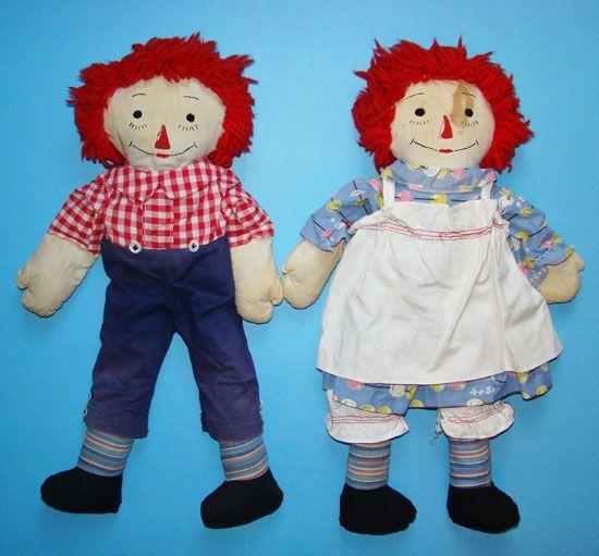 Raggedy Ann Andy Doll Pair Fabulous Big Hands 20 inch
