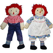 Vintage Raggedy Ann and Andy Doll Pair Fabulous Big Hands 20 inch Handmade