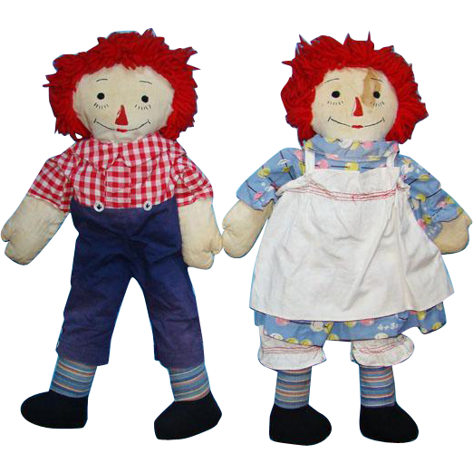 Vintage Raggedy Ann And Andy Dolls 40