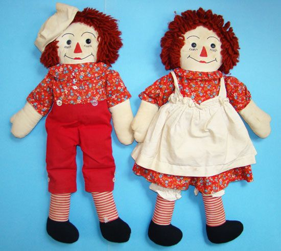 Raggedy Ann Andy Doll Pair in Red Calico Yarn Hair