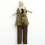 19thC Antique Miniature Child Church Rag Cloth Rolled Doll Dressed as Man