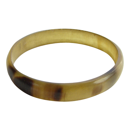 Vintage Old Cow Horn or Plastic Bangle Bracelet Brown
