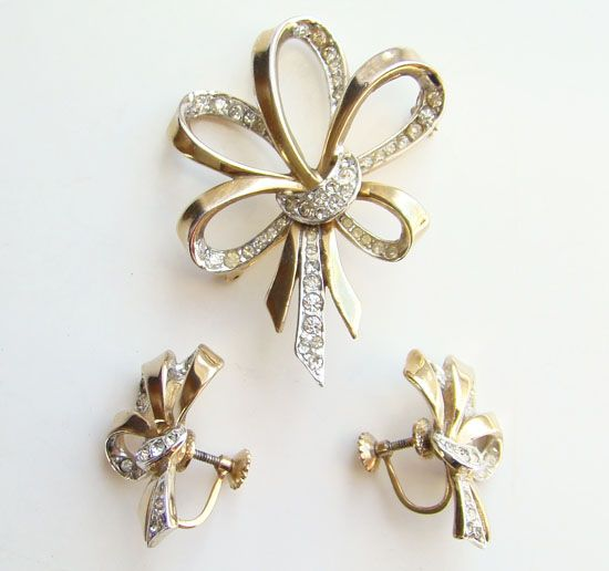 Vintage Marcel Boucher C1940s Pave Ribbon Bow Brooch Pin Earrings Signed