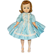 C1950s Madame Alexander Cissette Doll Dressed in 930 Aqua Shirtwaist Dress 9.5 Inch