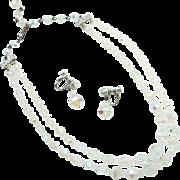 Vintage Laguna Crystal Necklace Earrings Aurora Borealis Double Strand Signed