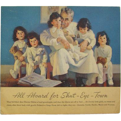1937 Dionne Quintuplets Paper Doll Book All Aboard for Shut Eye Town Uncut Palmolive Soap