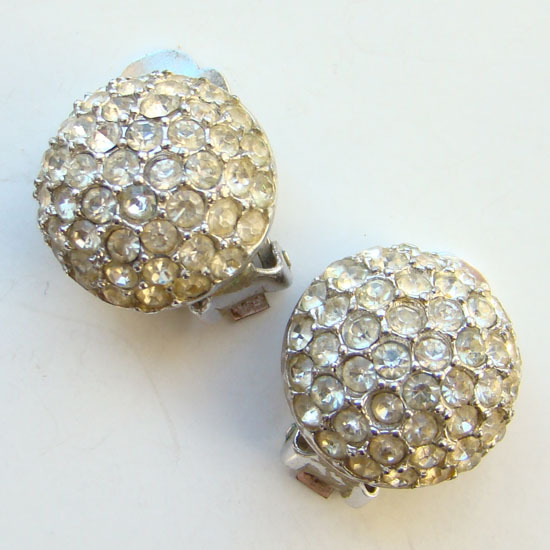 Vintage Bellini Clip Earrings Pave Clear Crystal Rhinestone Silver Tone