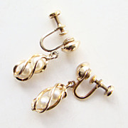 Vintage Gold Filled 1/20 12KT Earrings Screw Back Simulated Pearls