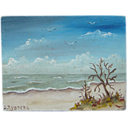 Ann B Rydberg Vero Beach Miniature Oil Painting Florida Waves Massachusetts Connection Signed