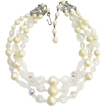 Vintage Laguna Three Strand Glass Bead Choker Necklace Faux Pearl Clear Signed