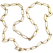 Vintage Eisenberg Textured Gold Tone Paper Clip Chain Necklace Signed 25 Inch Costume Jewelry