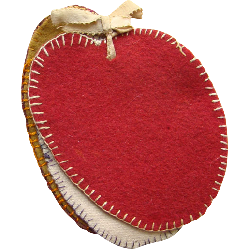 Victorian Needle Book Holder Case Wool Pages Child Made Apple Form