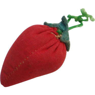 Old Strawberry Sewing Emery Notion Hand Made Stitched Red Cotton Green Felt Leaves