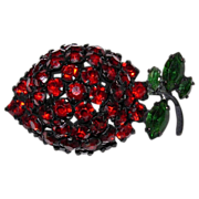 Vintage Signed Warner Strawberry Pin