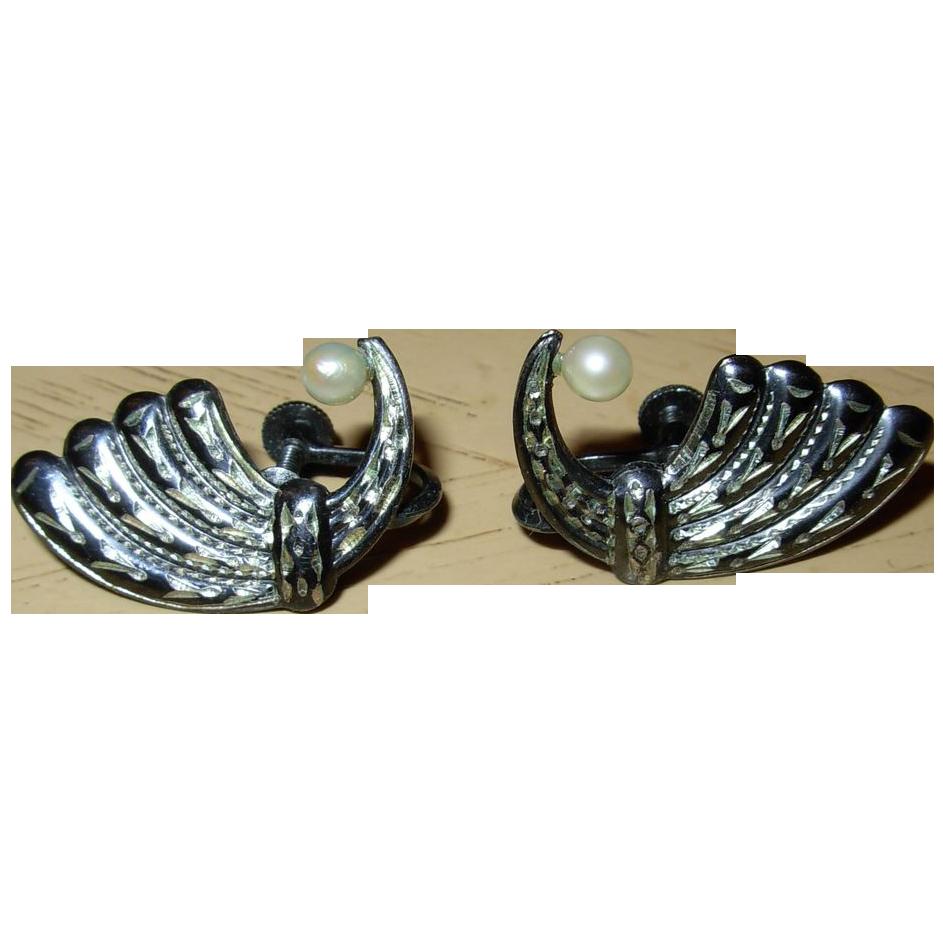 Vintage Sterling Silver Screw Back Earrings with Pearls