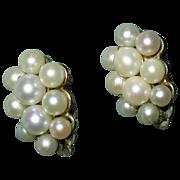 Vintage Cultured Pearl Cluster Clip Earrings
