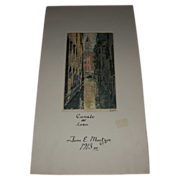 "Vintage Signed Drawing ""Canale del Lovo"" by John E Mostyn Dated 1913"