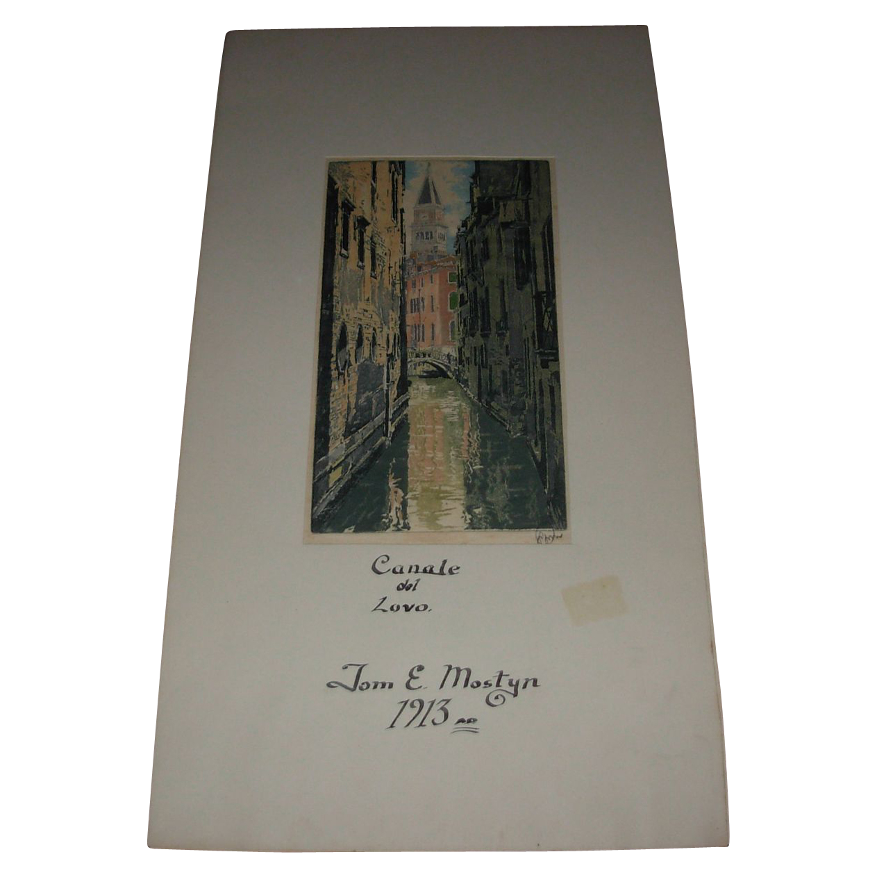 """Vintage Signed Drawing """"Canale del Lovo"""" by John E Mostyn Dated 1913"""