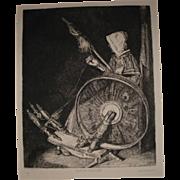 "Antique French Etching by Francois Bonvin ""Fileuse Bretonne"""