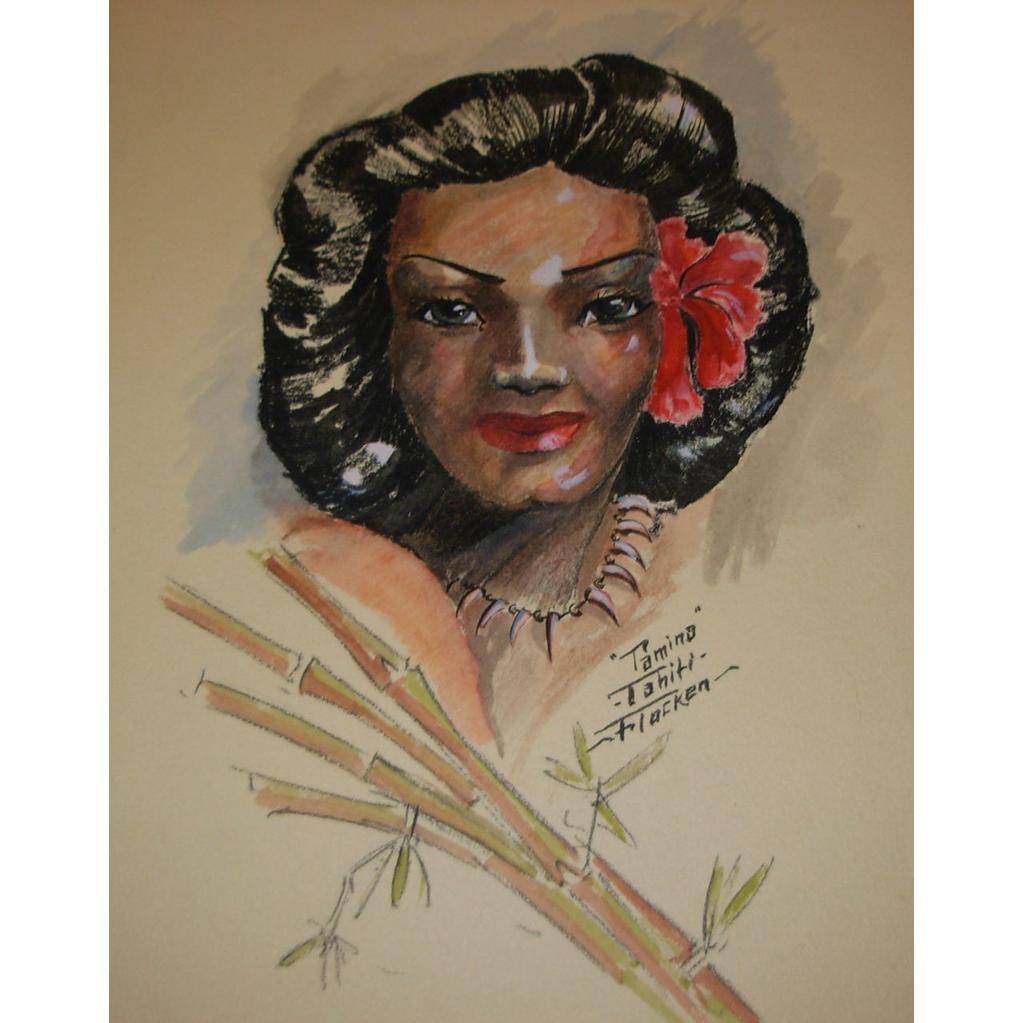 """Vintage """"Tamina"""" Tahiti Drawing by John Flocken"""