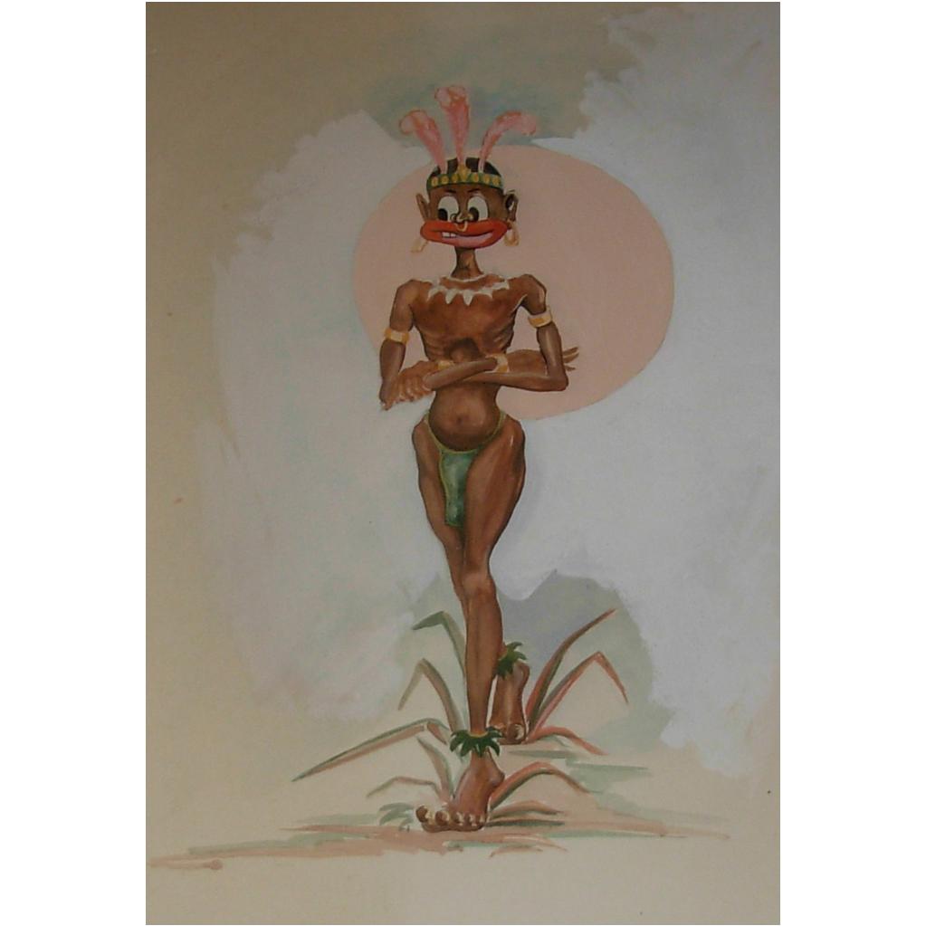 Vintage Tahitian Drawing 1940's