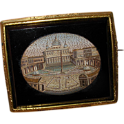 Antique 1850's Micro Mosaic Pin Brooch of St Peter's Rome