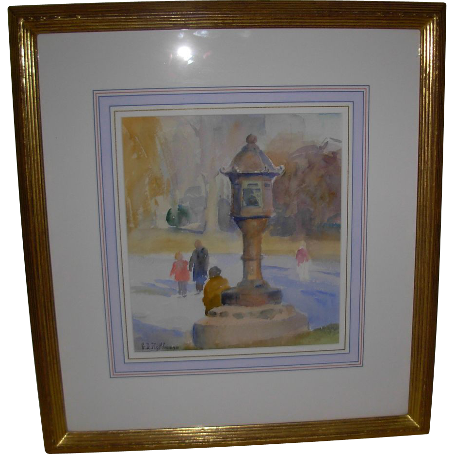 "Signed Watercolor by Artist Gary David Hoffmann ""Japanese Lantern"""