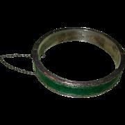 Vintage Siam Sterling Silver Enameled Bangle Bracelet