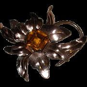 Vintage Large Sterling Silver Floral Pin / Brooch