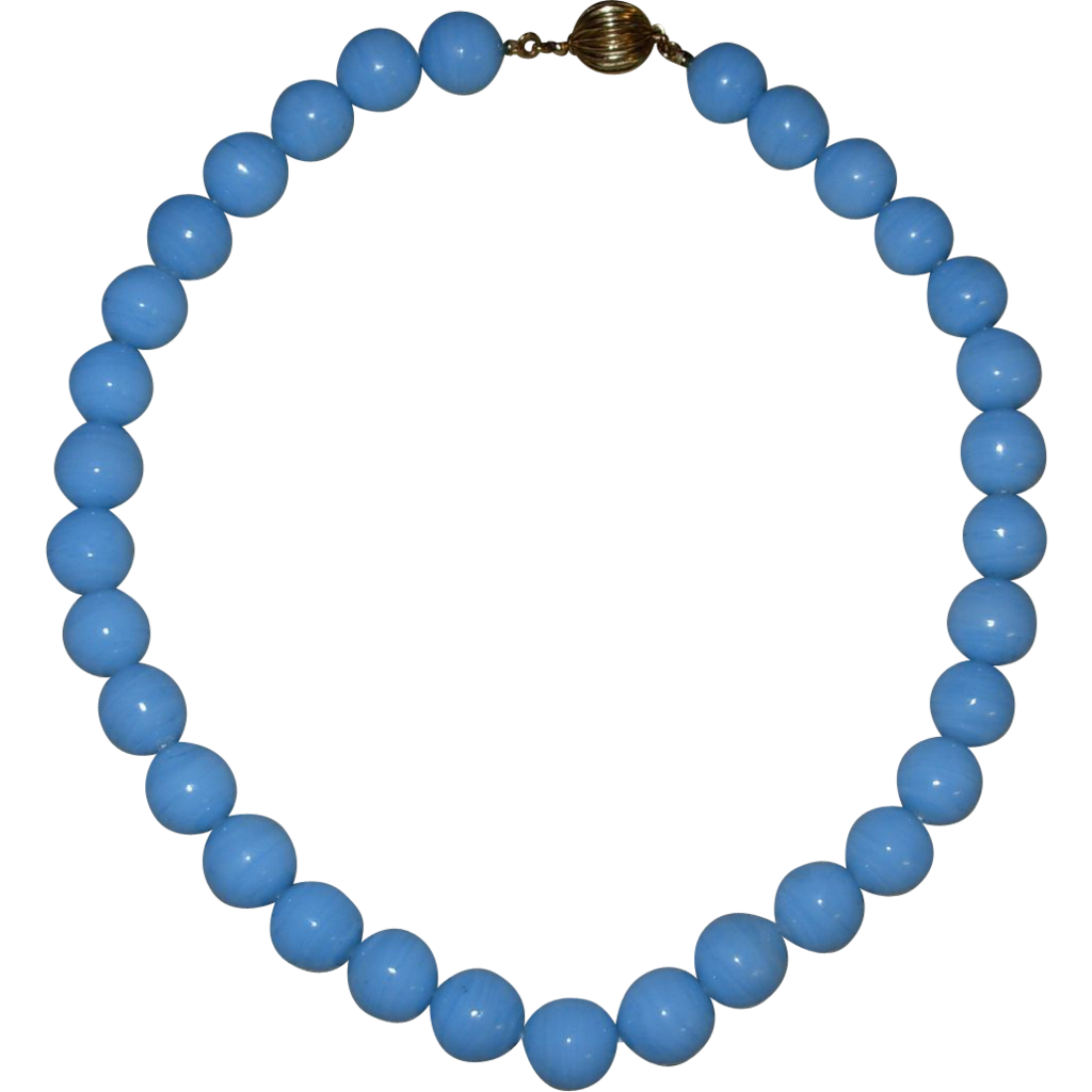 Vintage Heavy Blue Glass Beaded Choker Necklace