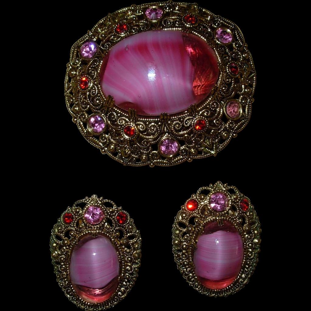Vintage German Pink & Red Rhinestone Pin and Earring Set