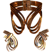 Vintage Copper Signed Renoir Bracelet and Matching Earrings