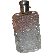 Antique Crystal Scent Bottle Perfume Flask with Sterling Silver Top