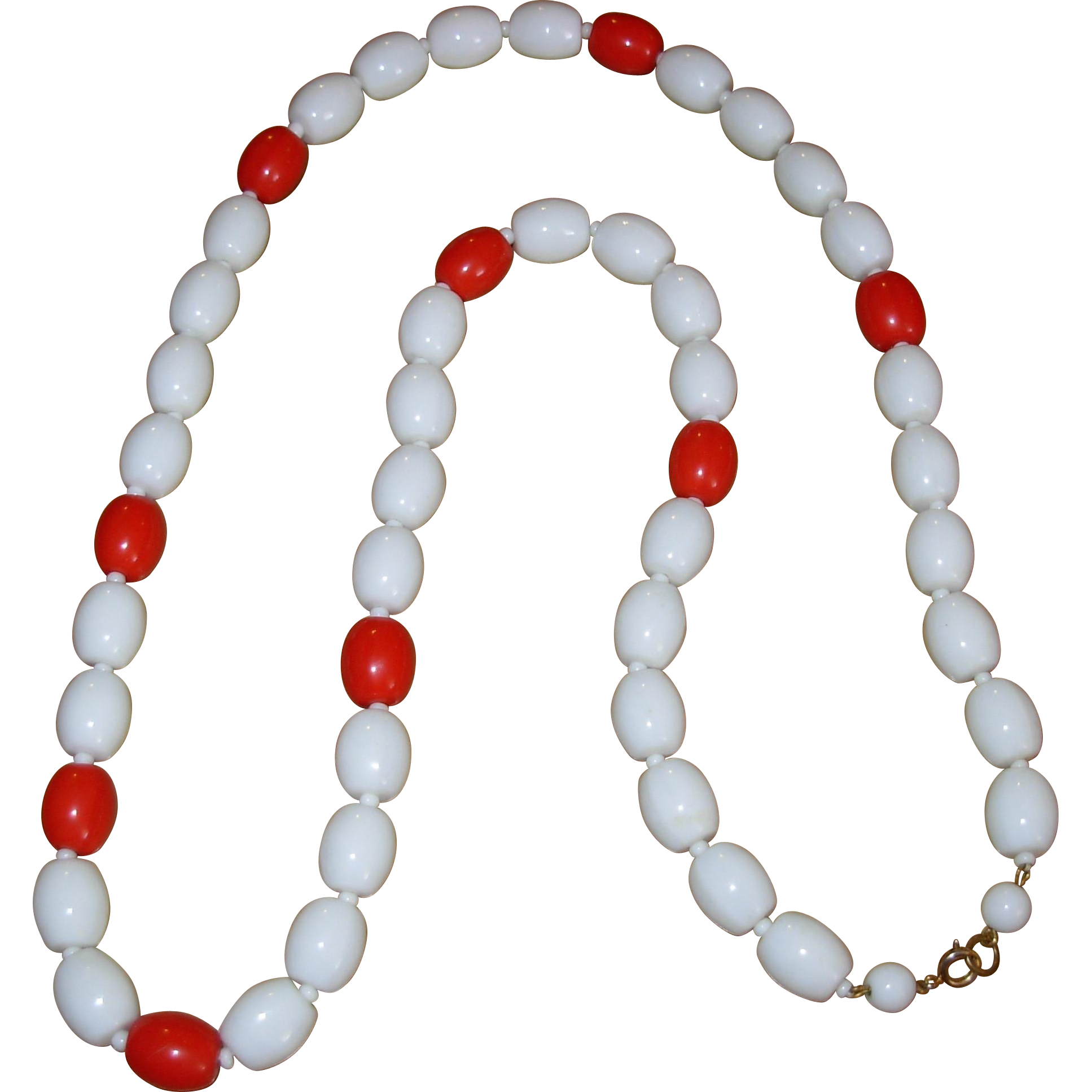 Vintage Glass Summer White & Red Beaded Necklace